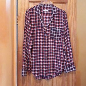 Equipment Femme 100% Silk Button Down Plaid Shirt